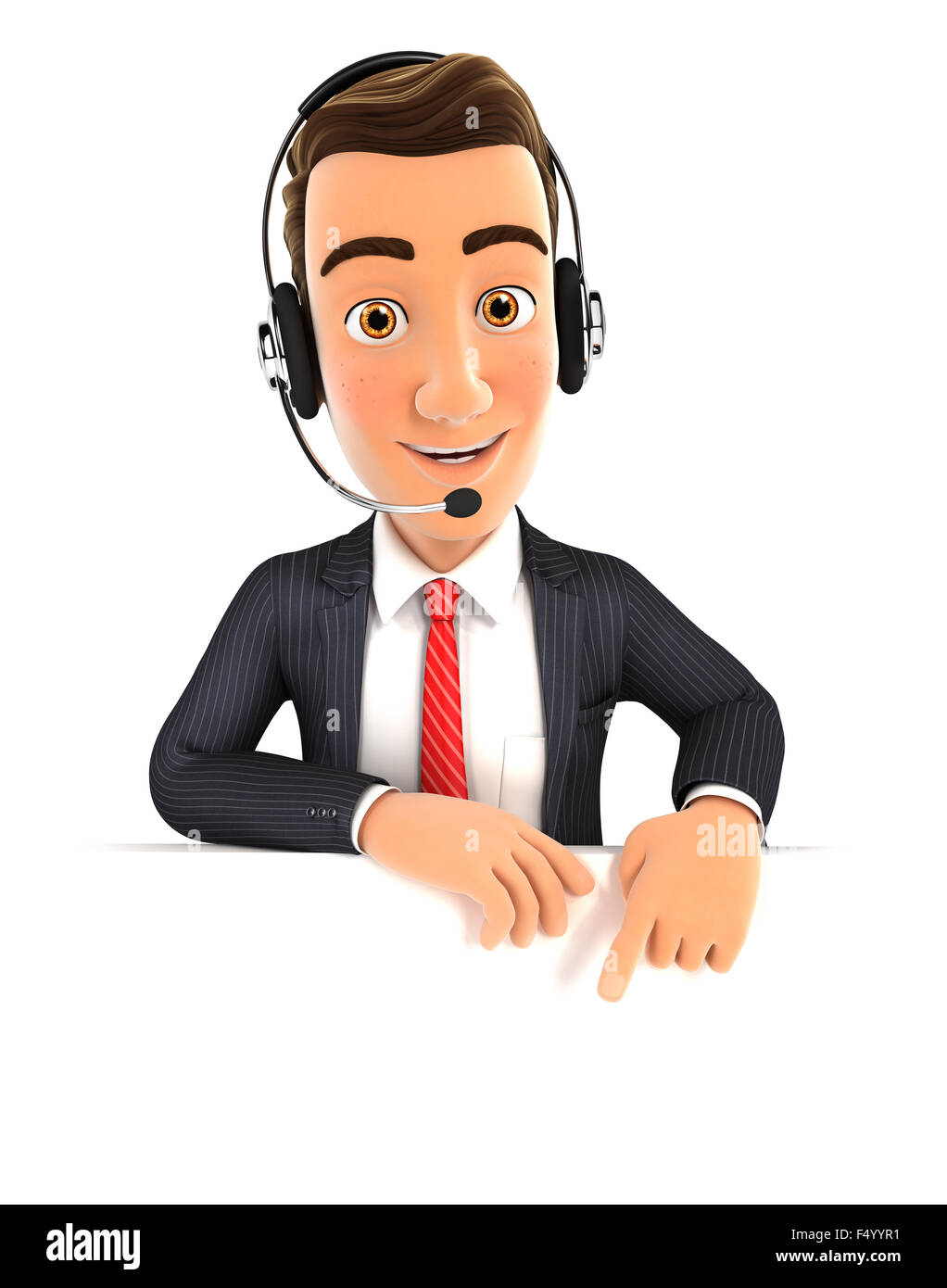 3d businessman with headset pointing to empty wall, isolated white background Stock Photo