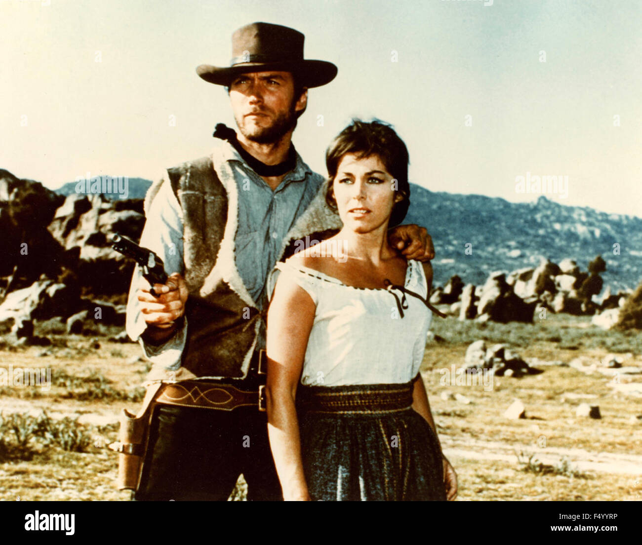 The American actor Clint Eastwood and Rada Rassimov in a scene from the film 'The Good, the Bad and the Ugly', - Stock Image