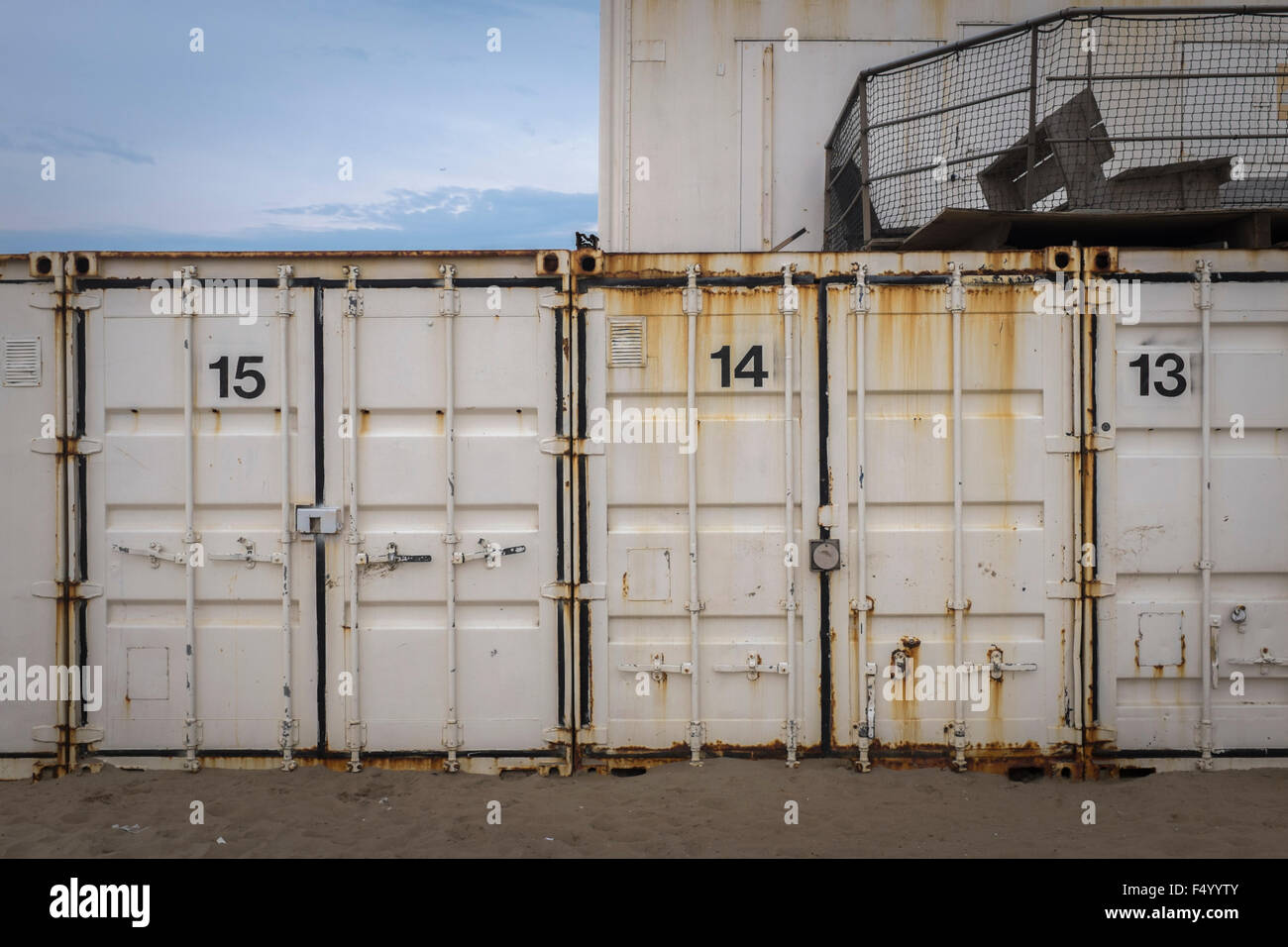 Shipping containers used for storage at Katwijk, Netherlands - Stock Image