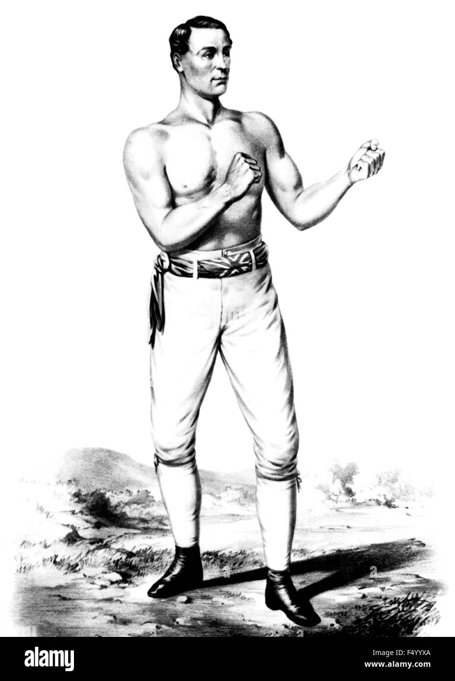 Vintage portrait print of English bare-knuckle boxer Tom Sayers (1826 - 1865). Sayers, born in Brighton, Sussex, - Stock Image