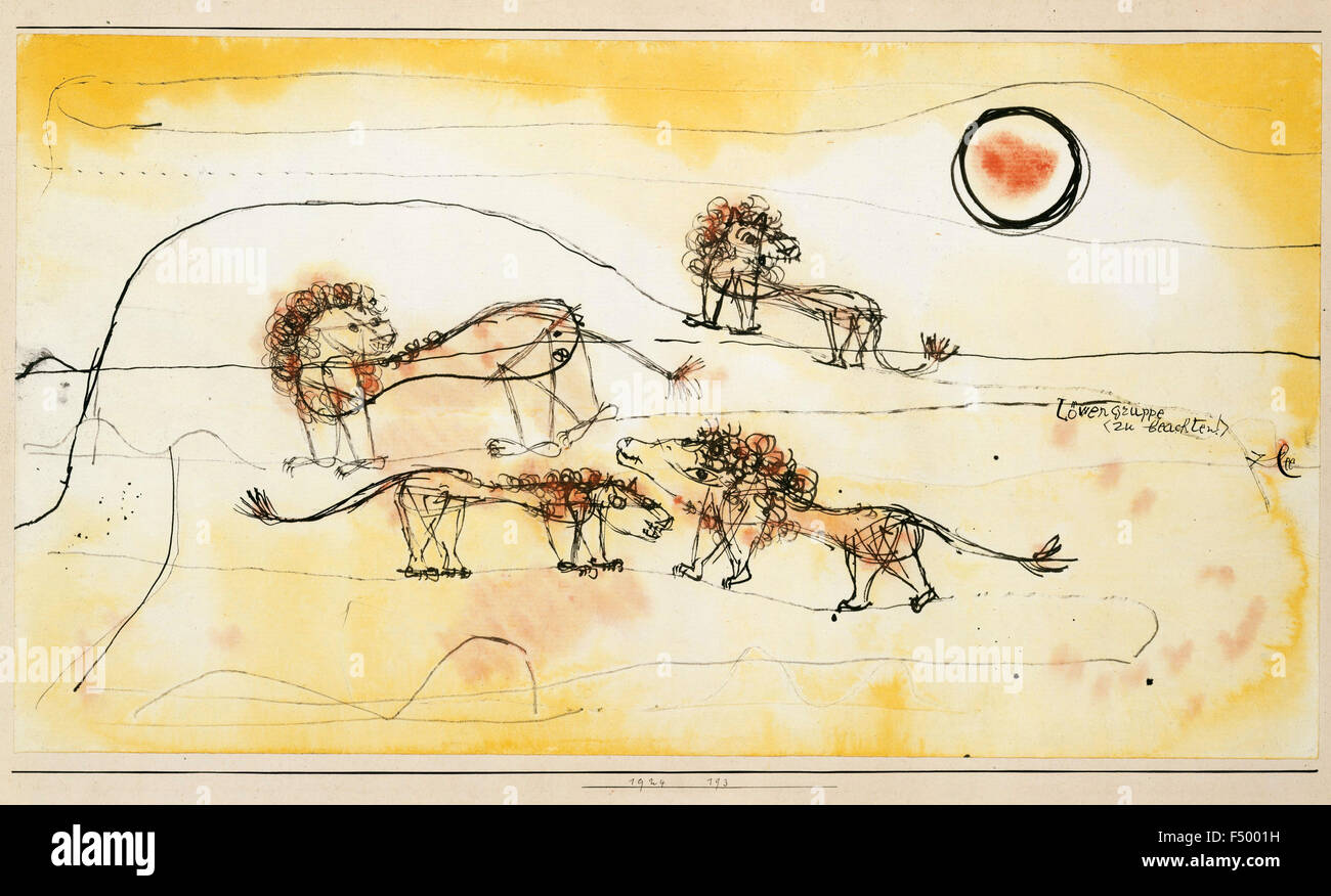 Paul Klee - A Pride of Lions (Take Note!) - Stock Image