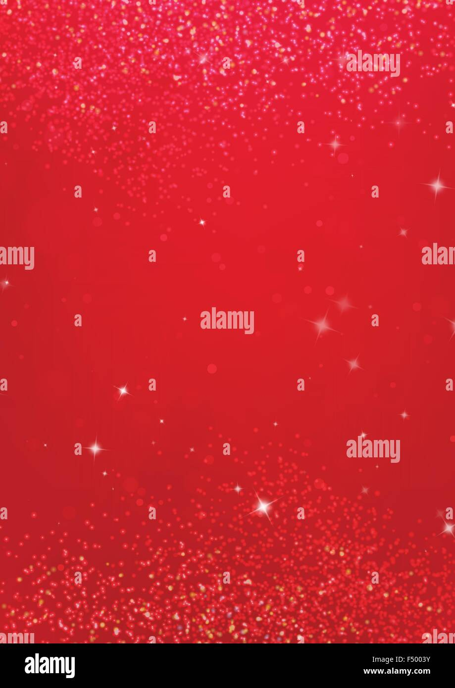 Shocking red background with golden sparkle effect - Stock Image