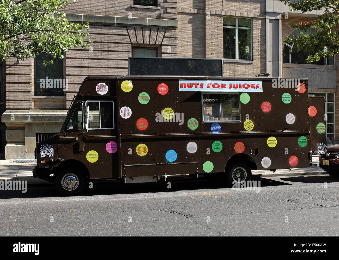 A truck selling imaginative blends of juices on Broadway on the Upper West Side on New York City - Stock Image