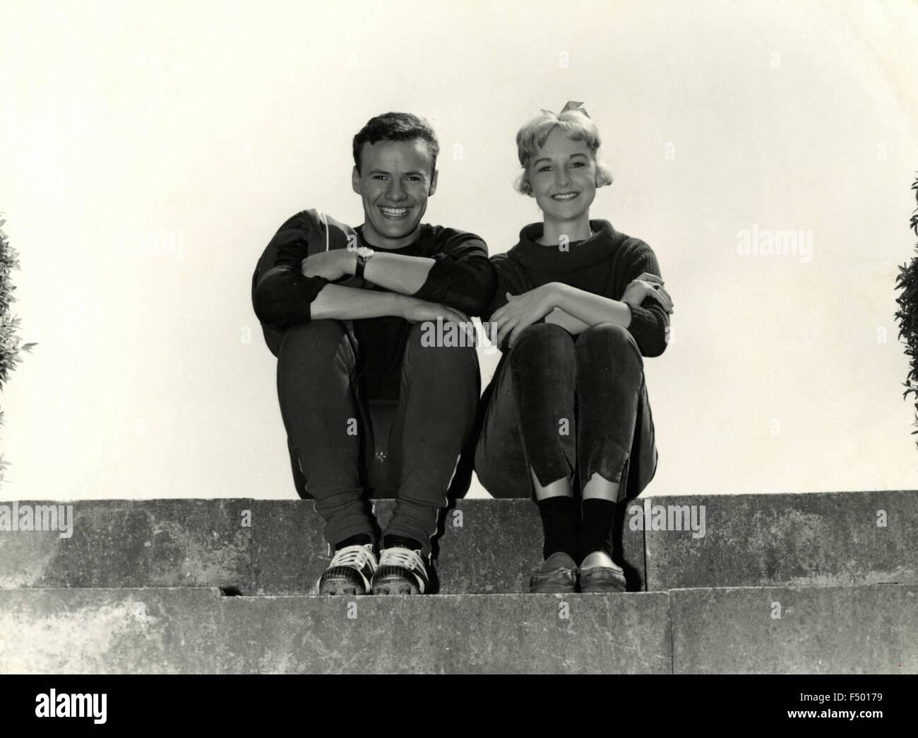 The Danish actors Rudi Hansen and Harald Nielsen in the movie 'Far til fire med fuld musik', Denmark - Stock Image