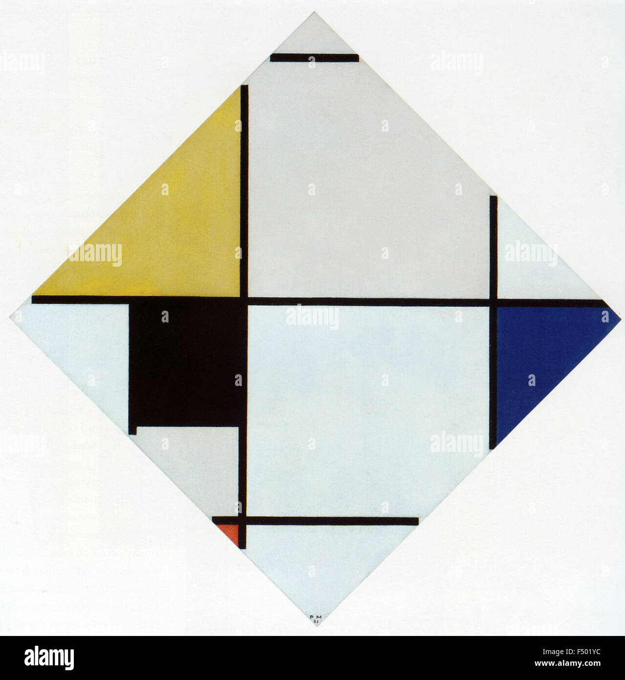 Pietr Mondrian - Lozenge Composition with Yellow, Black, Blue, Red, and Gray - Stock Image