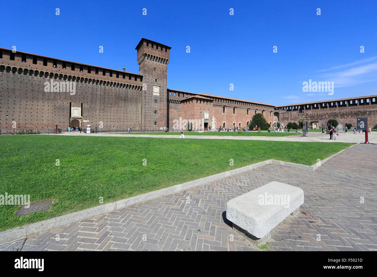 Sforza Castle, Cortile delle Armi, Milano, Milan, Lombardy, Lombardy, Italy - Stock Image