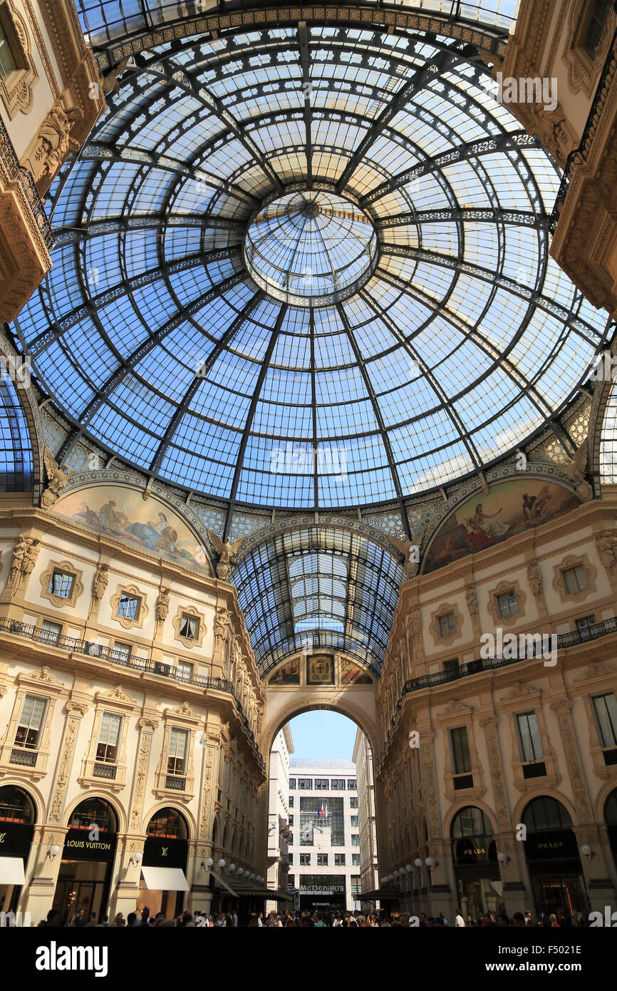 Galleria Vittorio Emanuele II, gallery, Milano, Milan, Lombardy, Lombardy, Italy - Stock Image