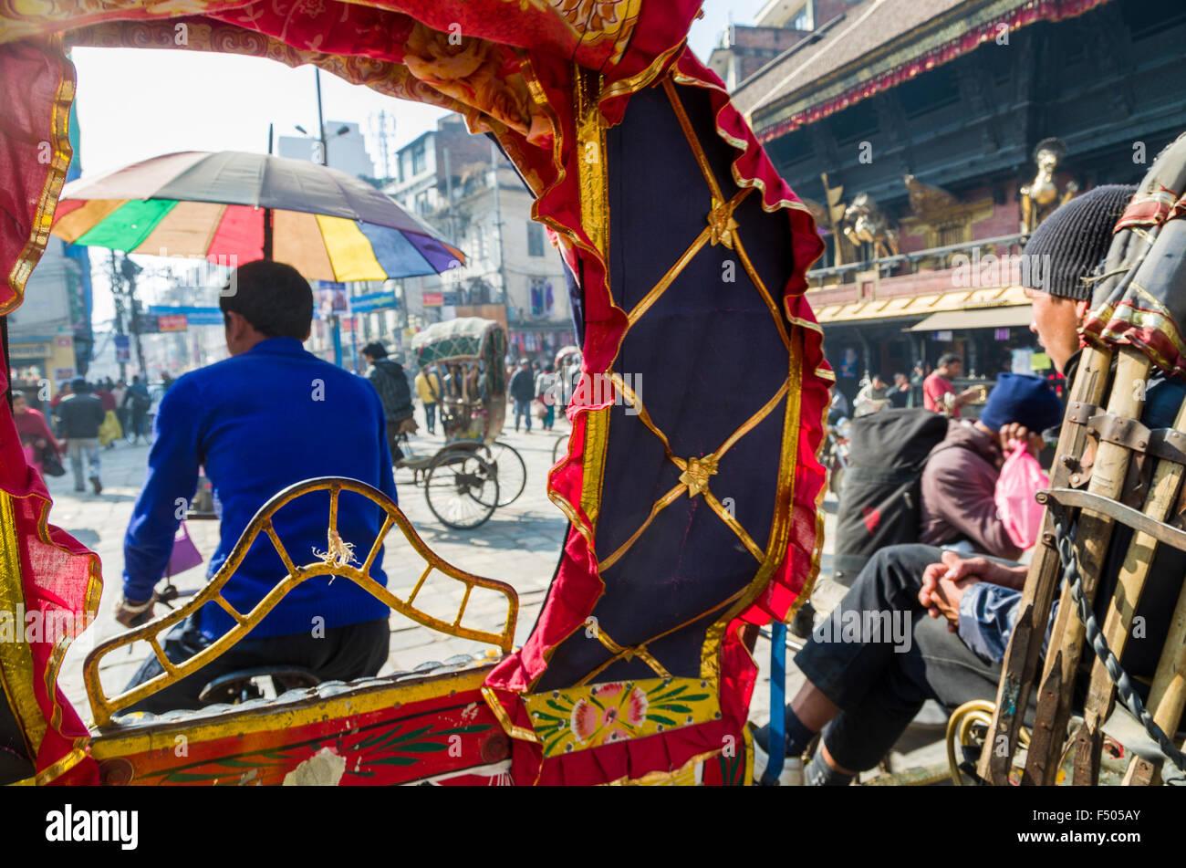 Rikshaw drivers waiting for customers Stock Photo