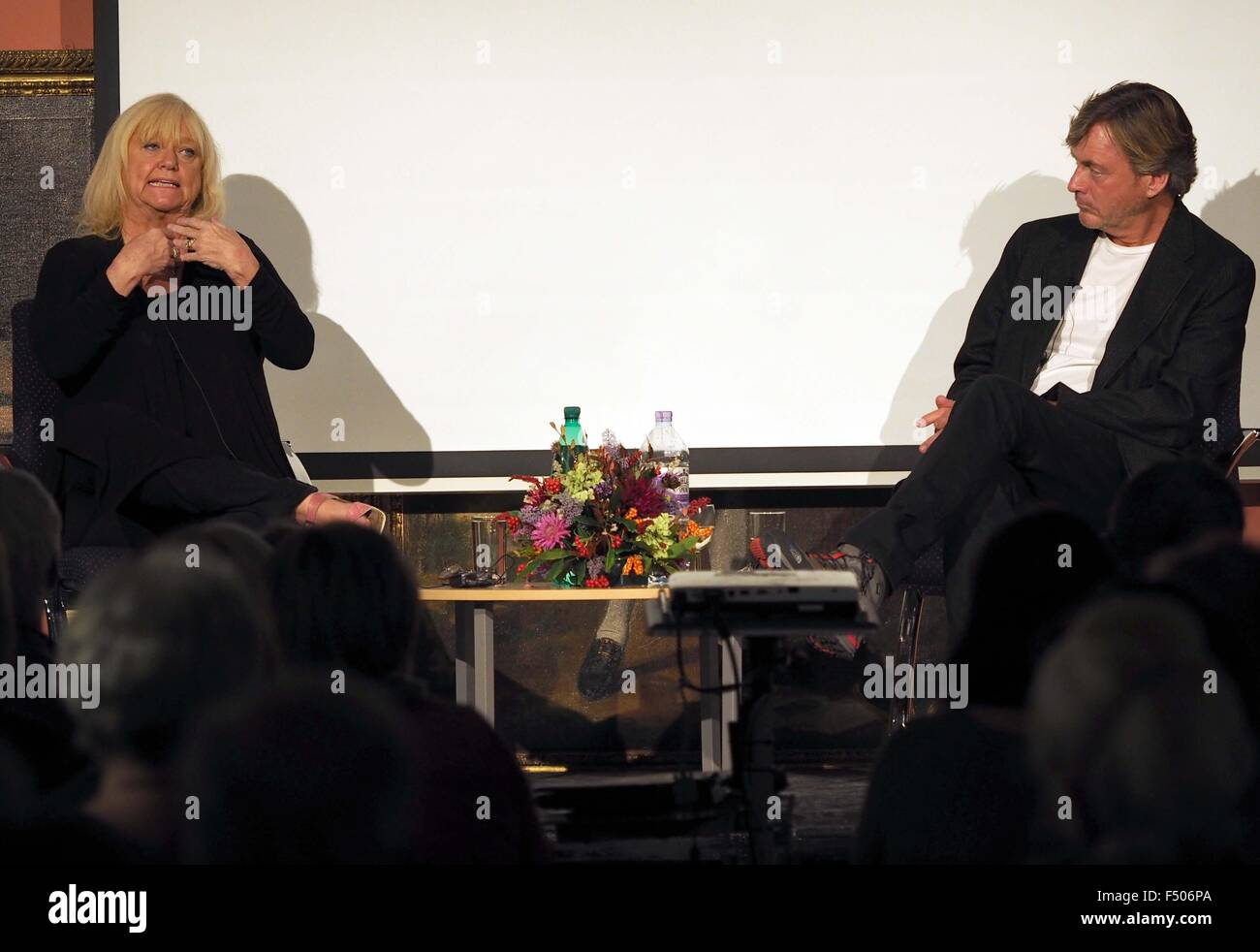 Richard Madeley interviews his wife and author Judy Finnigan at Dorchester Literary Festival, Dorset, Britian, UK - Stock Image
