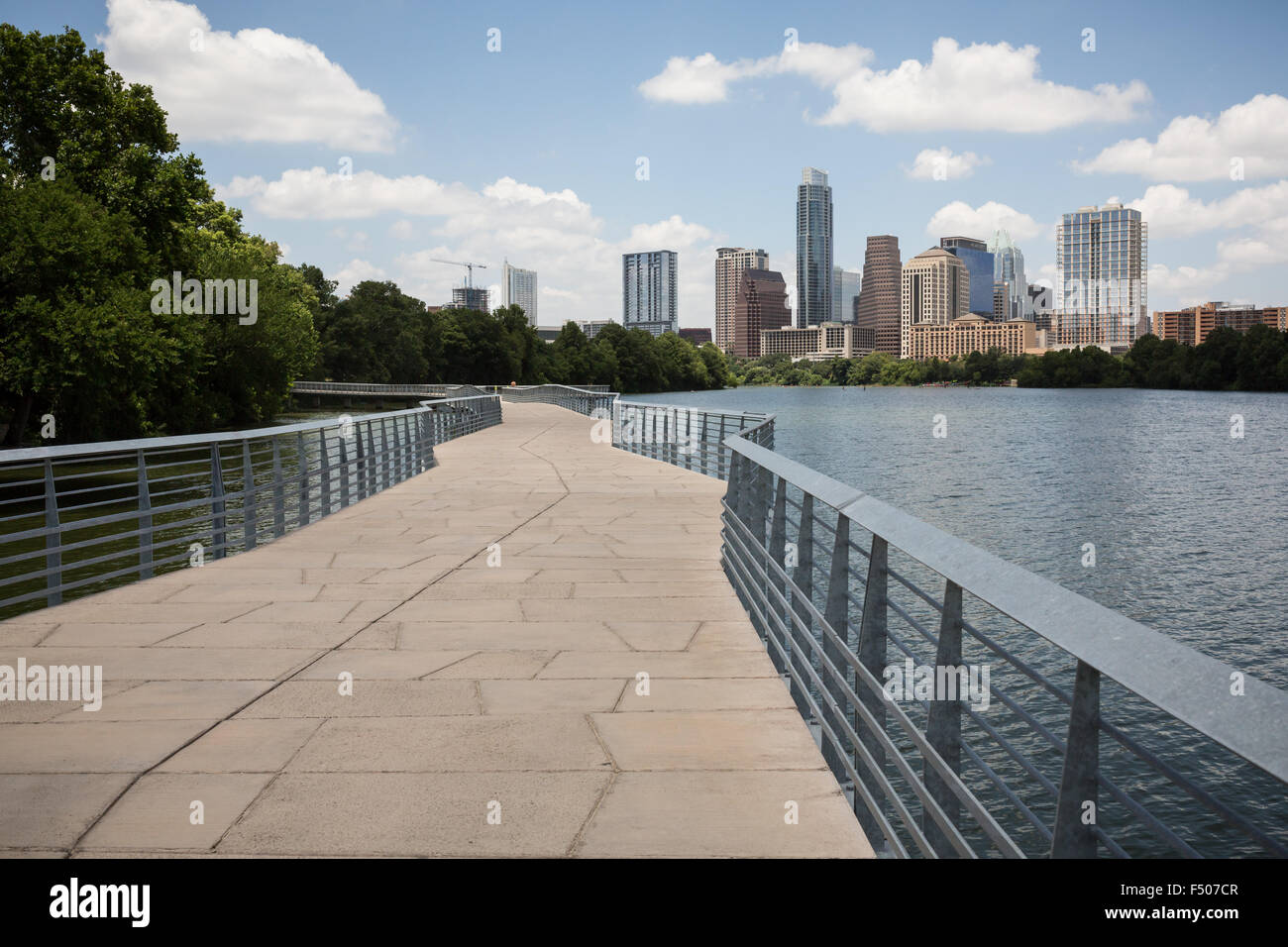 The Boardwalk Trail at Lady Bird Lake in Austin, Texas - Stock Image