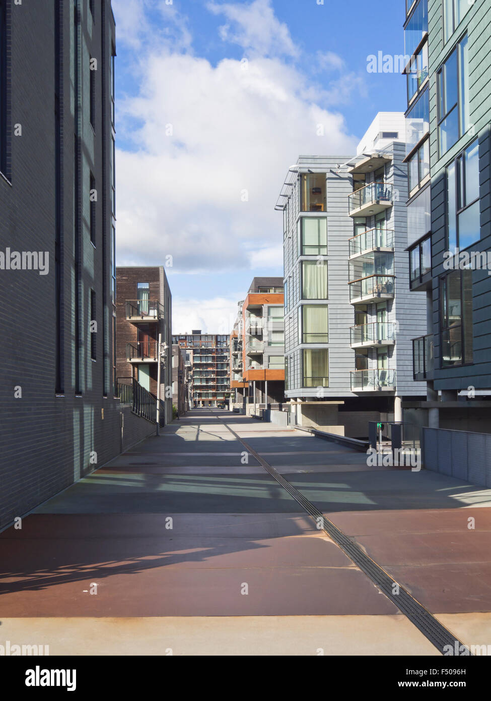 Jattavagen, Stavanger Norway, former industrial area now converted to modern living on the fjord Stock Photo