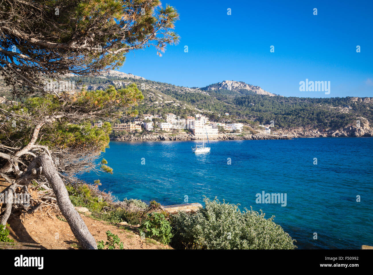 View to the bay of San Elm - Stock Image