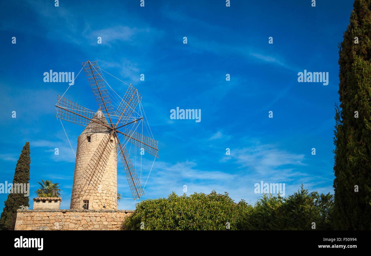 Traditional windmill of Mallorca - Stock Image