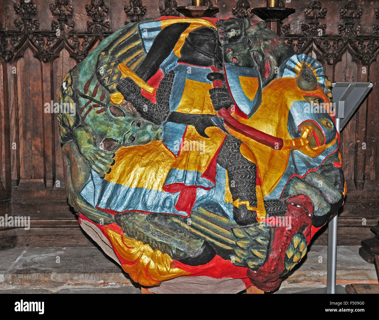 Replica roof boss displayed in Exeter Cathedral. The original weighed approximately two tons. - Stock Image
