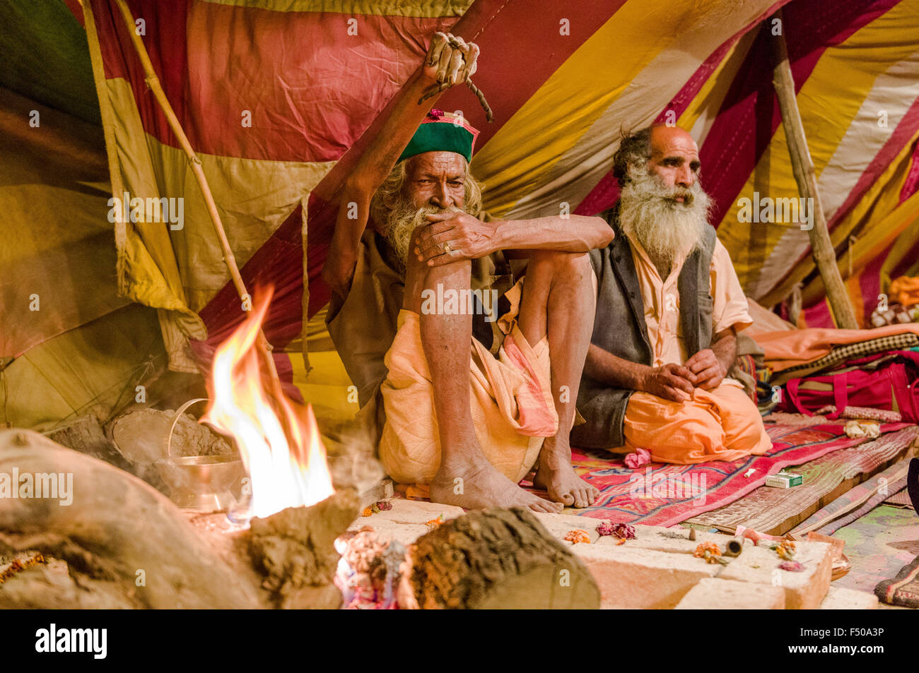Shiva sadhu from Juna Akhara, holy man, practicing Urdha Tapa, lifting ohne arm for many years for spiritual reason - Stock Image