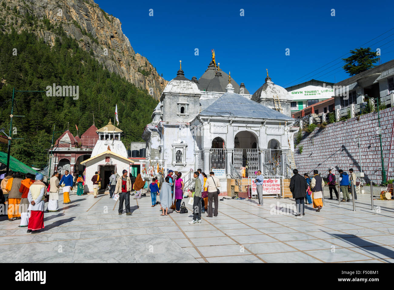 Gangotri Temple is a very important pilgrimage place for Hindus and Buddhists - Stock Image