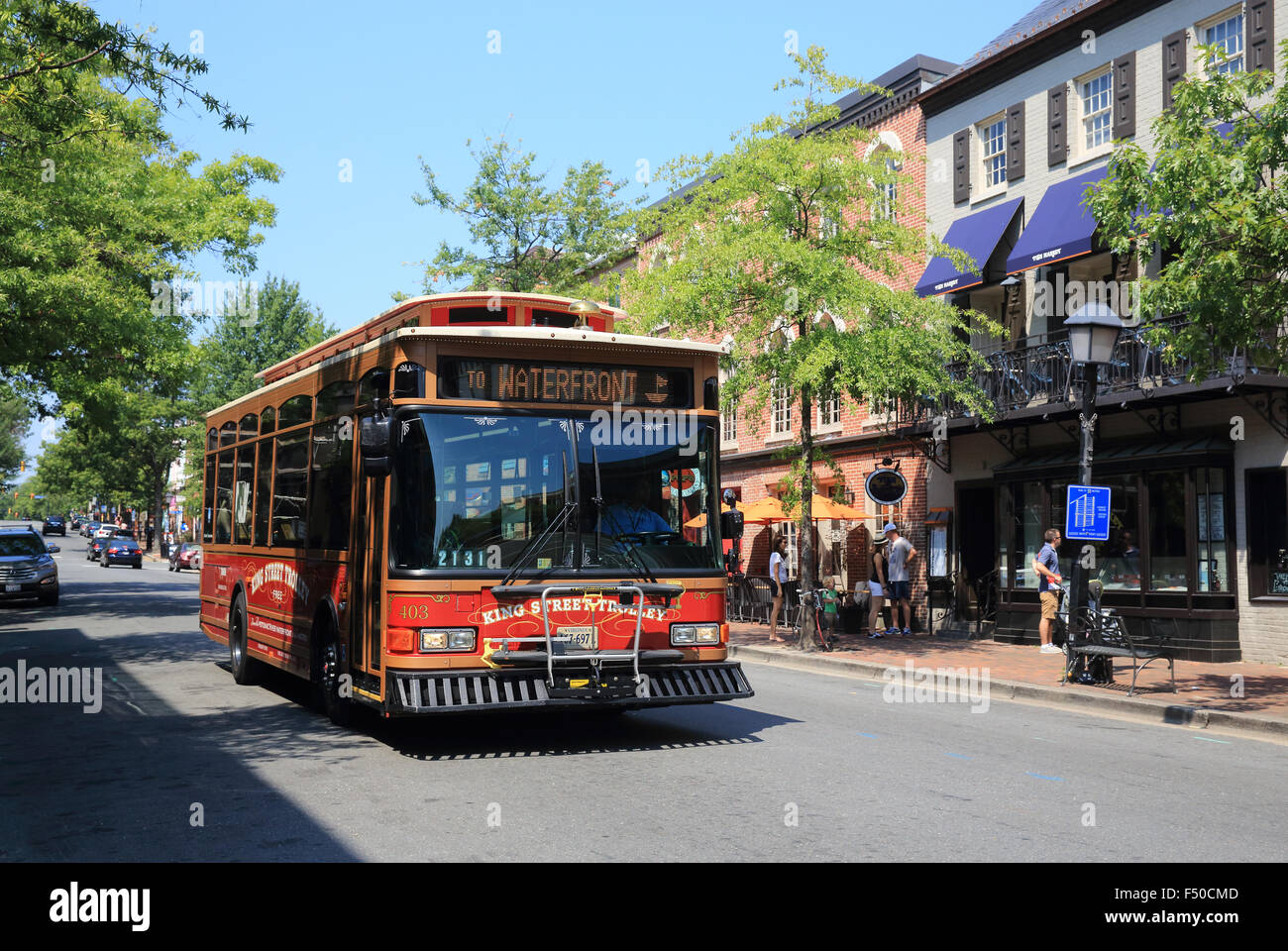 The King Street Trolley in Old Town Alexandria, in Virginia, USA - Stock Image