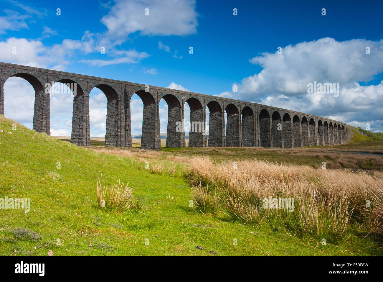 Famous Ribblehead Viaduct in Yorkshire Dales National Park,Great Britain - Stock Image