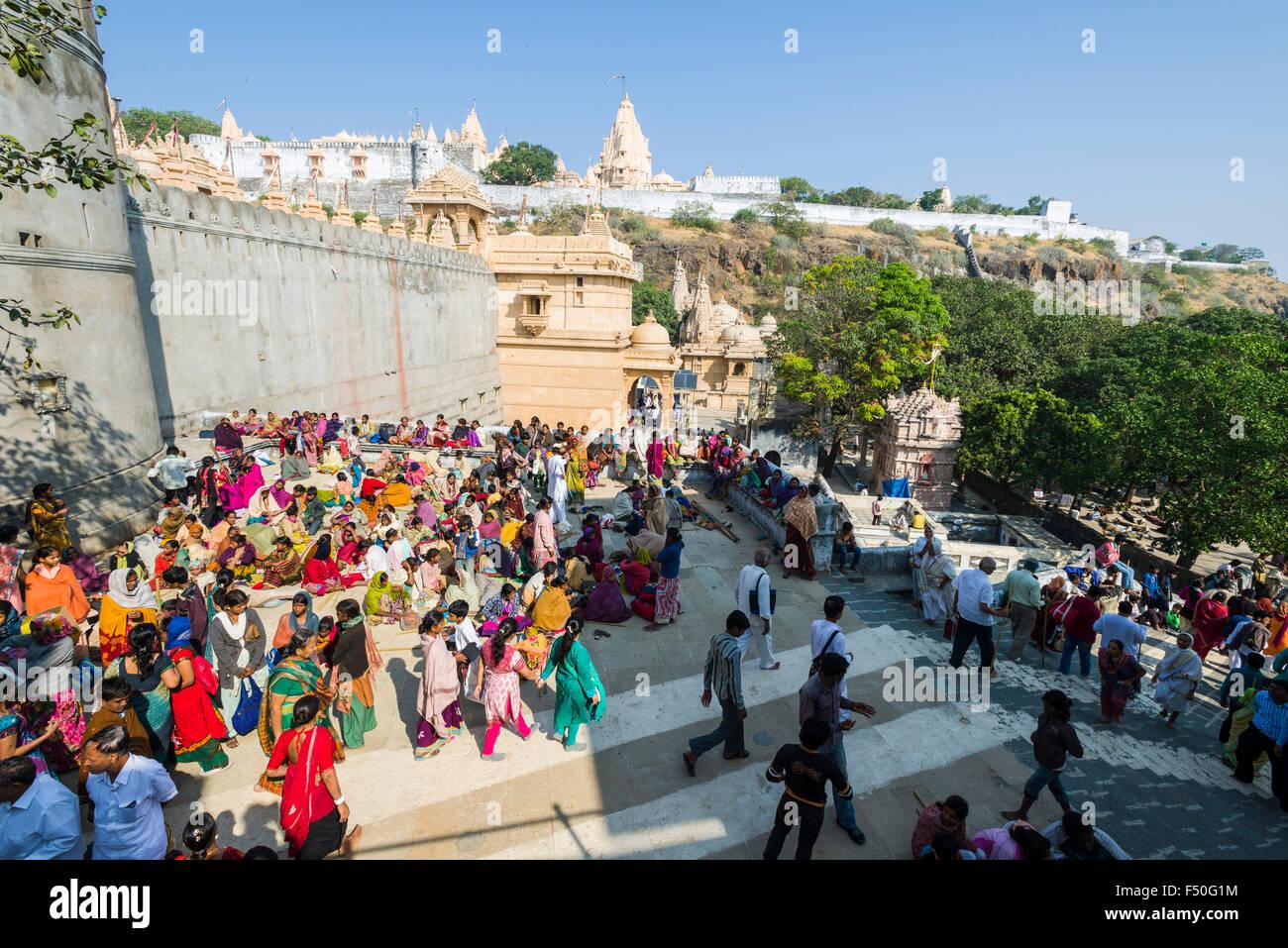 Thousands of Jain pilgrims are visiting Shatrunjaya hill, one of the major pilgrim sites for Jains, at the day of Stock Photo