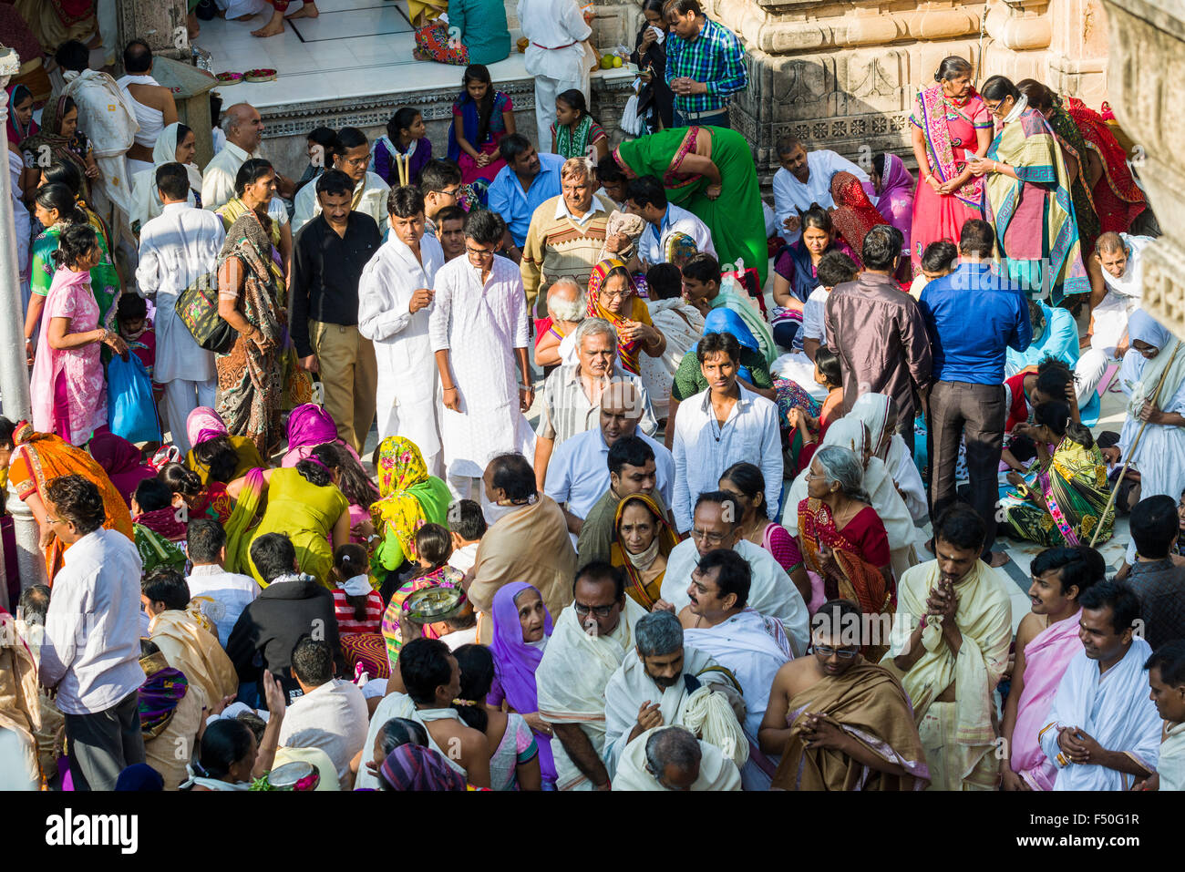 Thousands of Jain pilgrims are visiting Shatrunjaya hill, one of the major pilgrim sites for Jains, at the day of Stock Photo