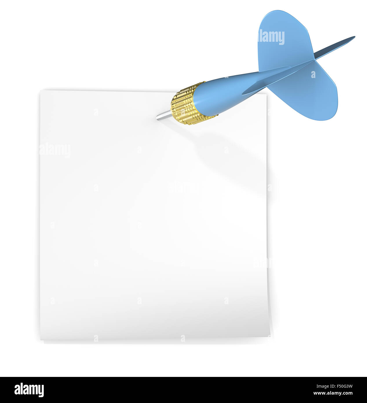 White sticky note attached with blue dart arrow. Copy Space. - Stock Image