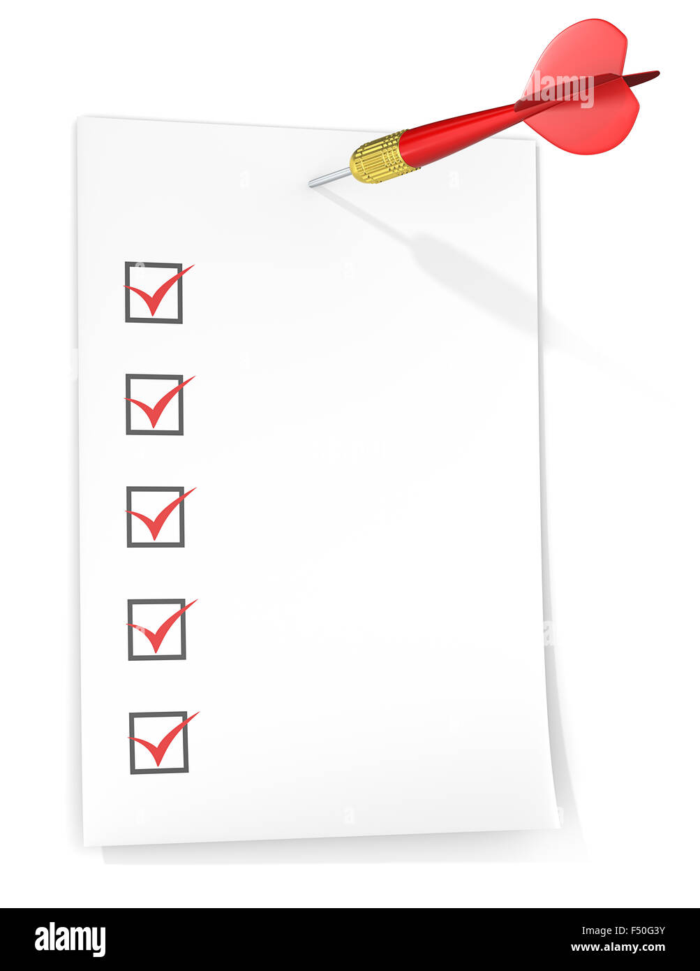 Check list with tick boxes. Paper on wall by Dart Arrow. Red theme color. - Stock Image