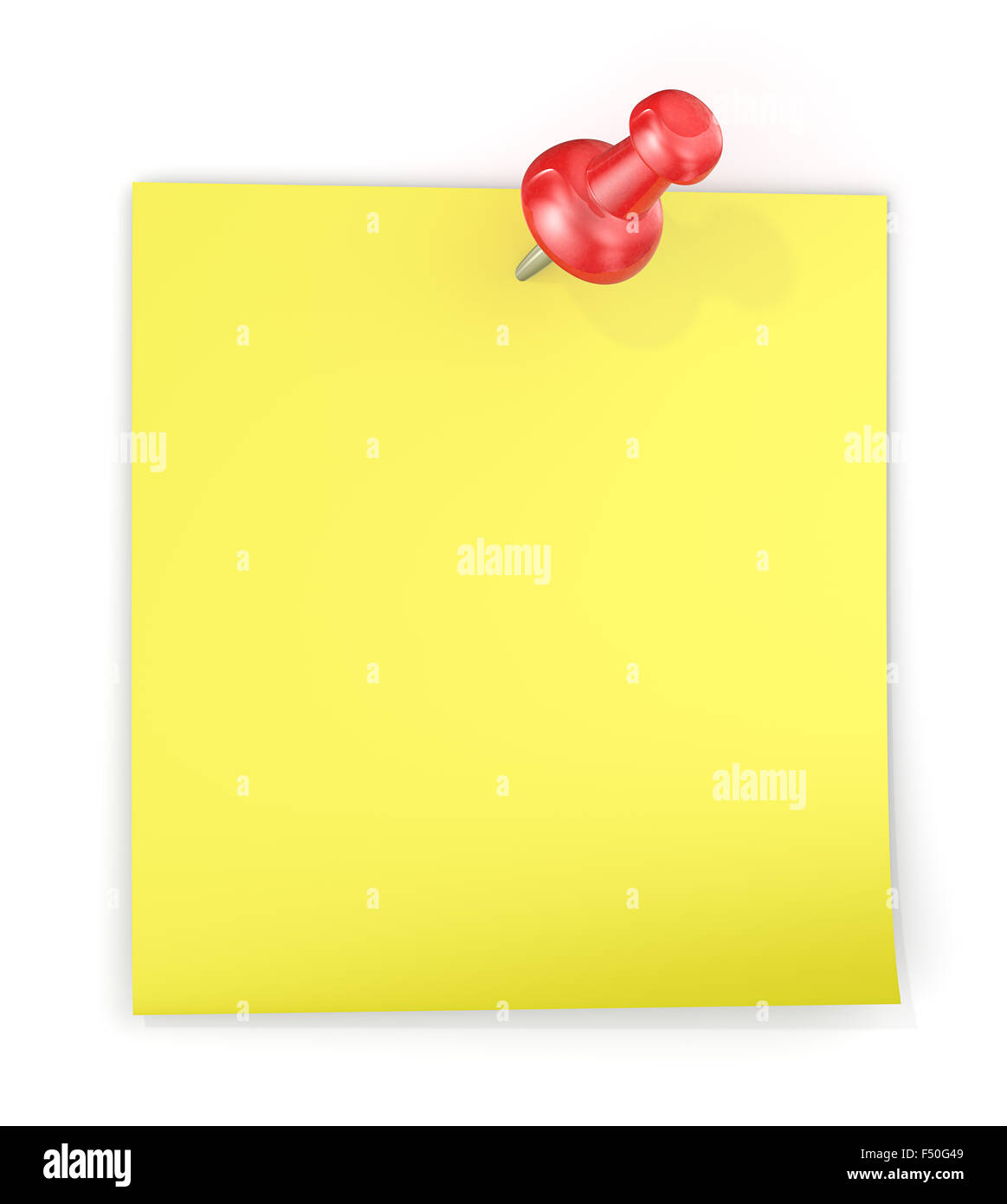 Yellow sticky note with Red semi transparent plastic Push Pin. Blank for Copy Space. - Stock Image