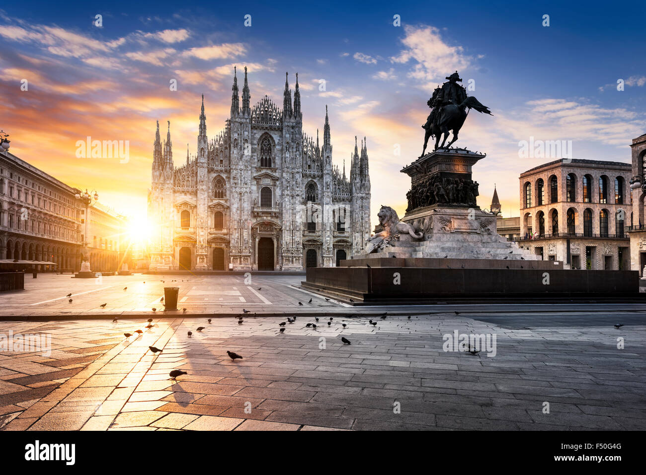 Duomo at sunrise, Milan, Europe. - Stock Image
