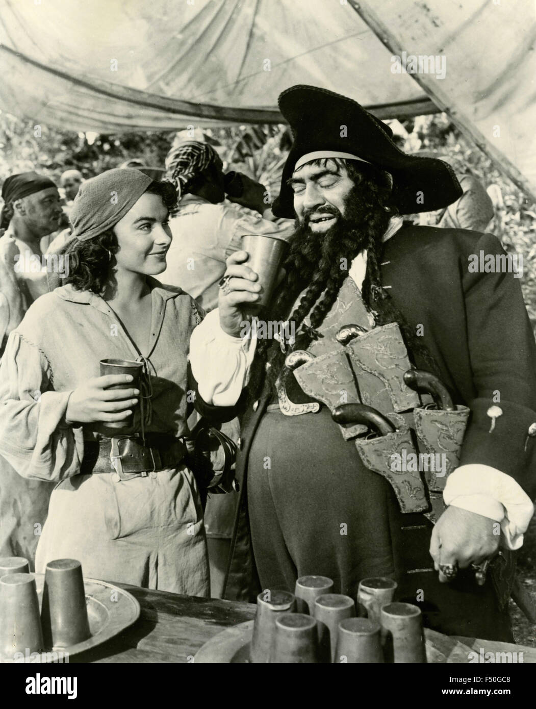 The actors Thomas Gomez and Jean Peters in a scene from the film 'Anne of the Indies', USA 1951 - Stock Image