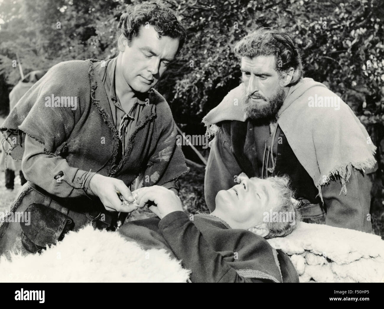 The actors Richard Greene and Nigel Green in a scene from the movie 'Sword of Sherwood Forest' , UK 1960 - Stock Image