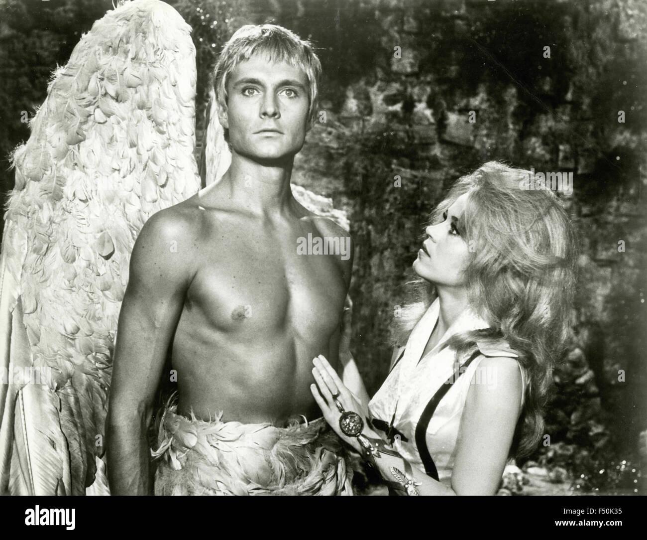 The actors Jane Fonda and John Phillip Law in a scene from the film 'Barbarella', 1968 - Stock Image