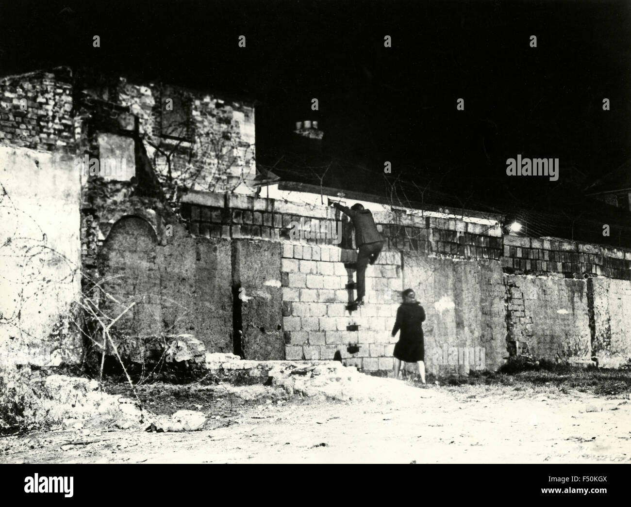 Scene of the Berlin Wall from the film 'The Spy Who Came in from the Cold' , UK 1963 - Stock Image