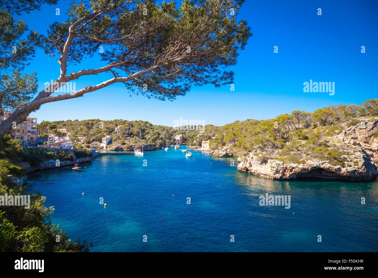 Boats in the harbour of Cala Figueira, Mallorca Stock Photo