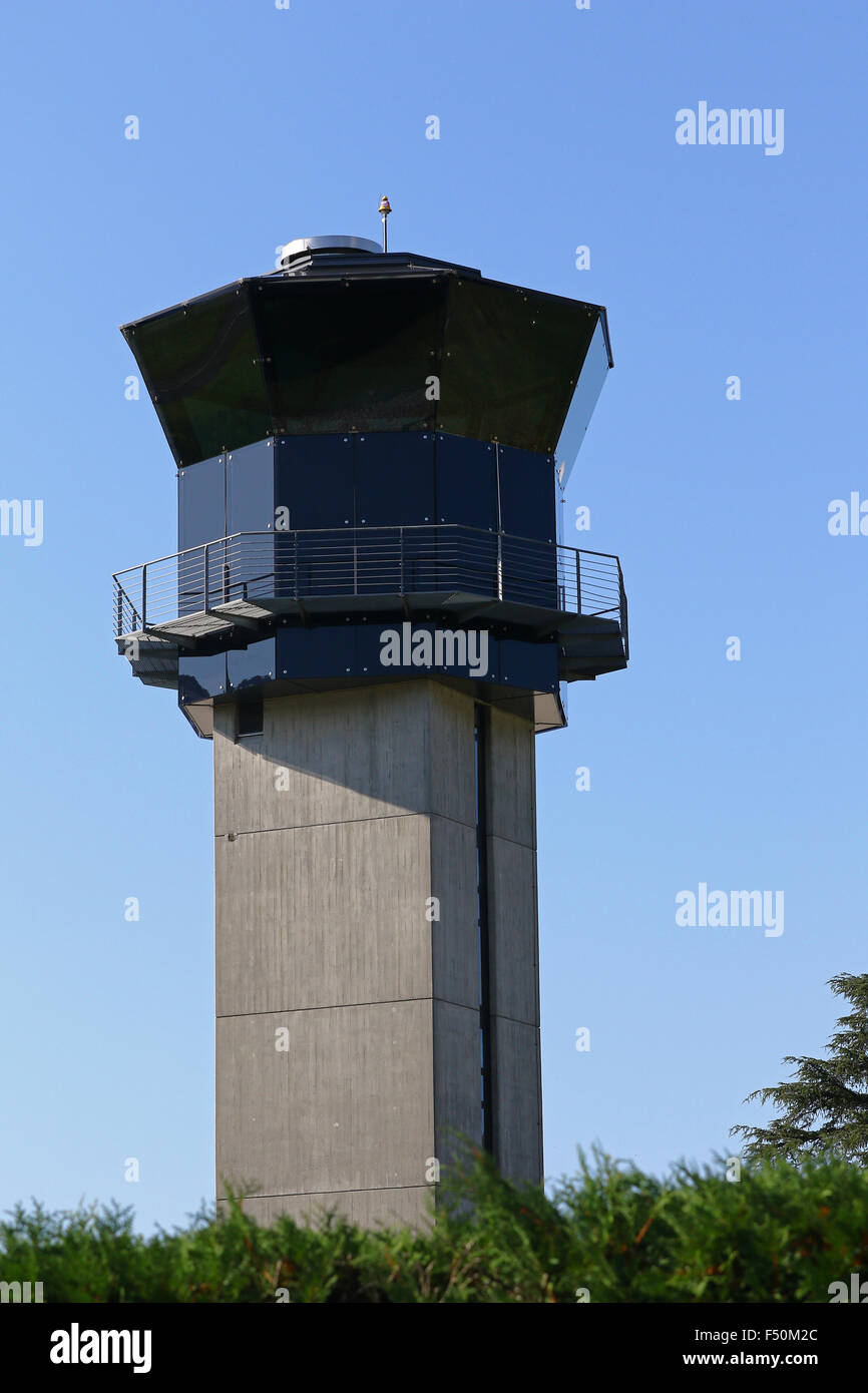 Control tower against a clear blue sky - Stock Image
