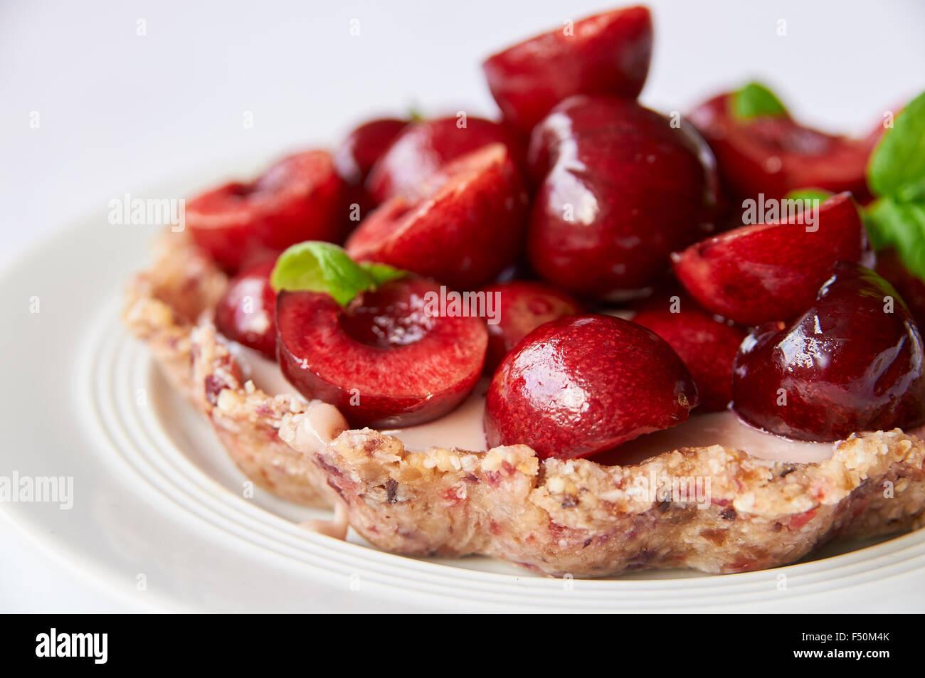 Raw Cherry Tart Stock Photo