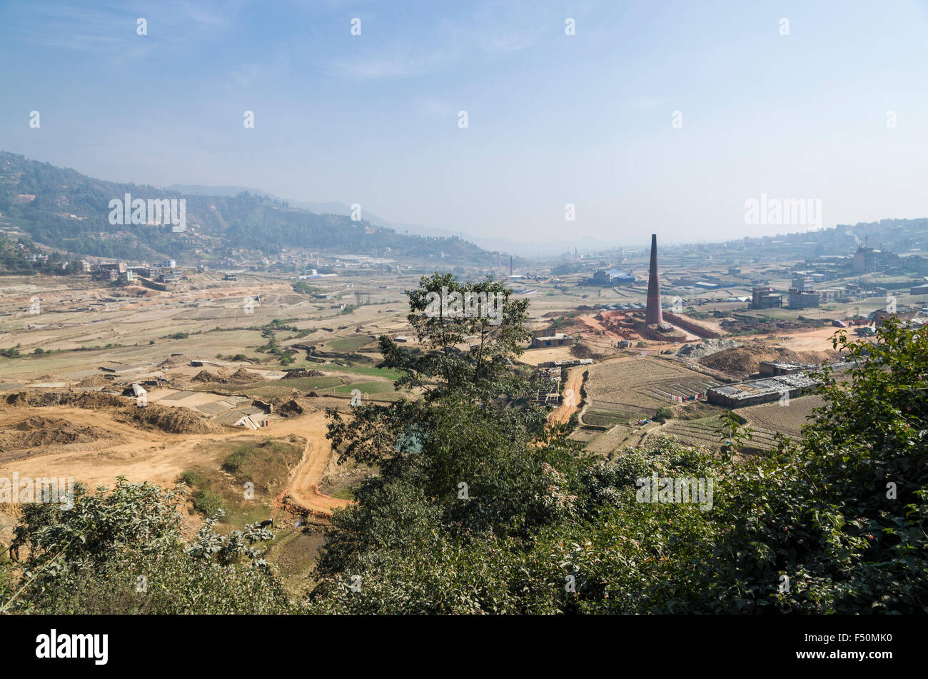 Brick factories located west of Kathmandu - Stock Image