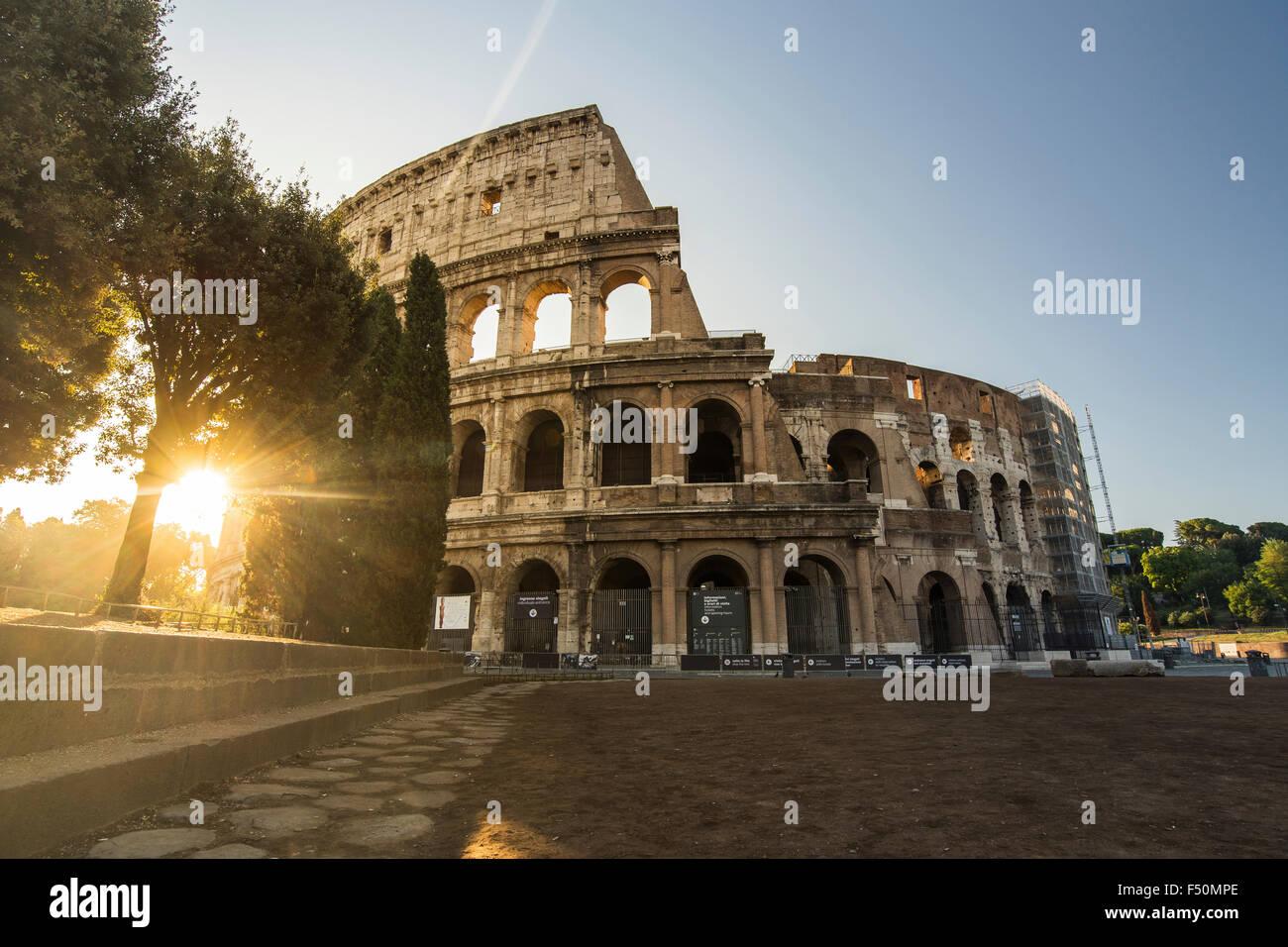 Coliseum in Rome at sunrise - Stock Image
