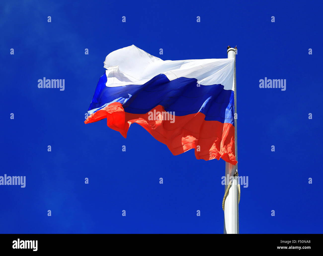 State Flag of the Russian Federation - its official state symbol, along with the coat of arms and anthem. It is - Stock Image