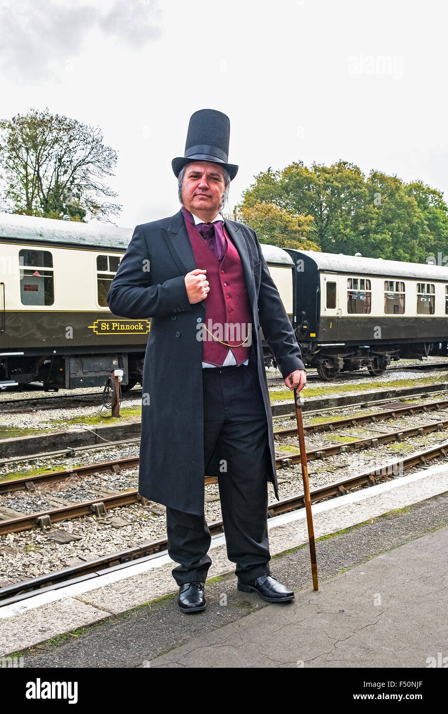 a gentleman dressed as Isambard Kingdom Brunel at the Victorian Day on the Bodmin and Wenford steam railway - Stock Image