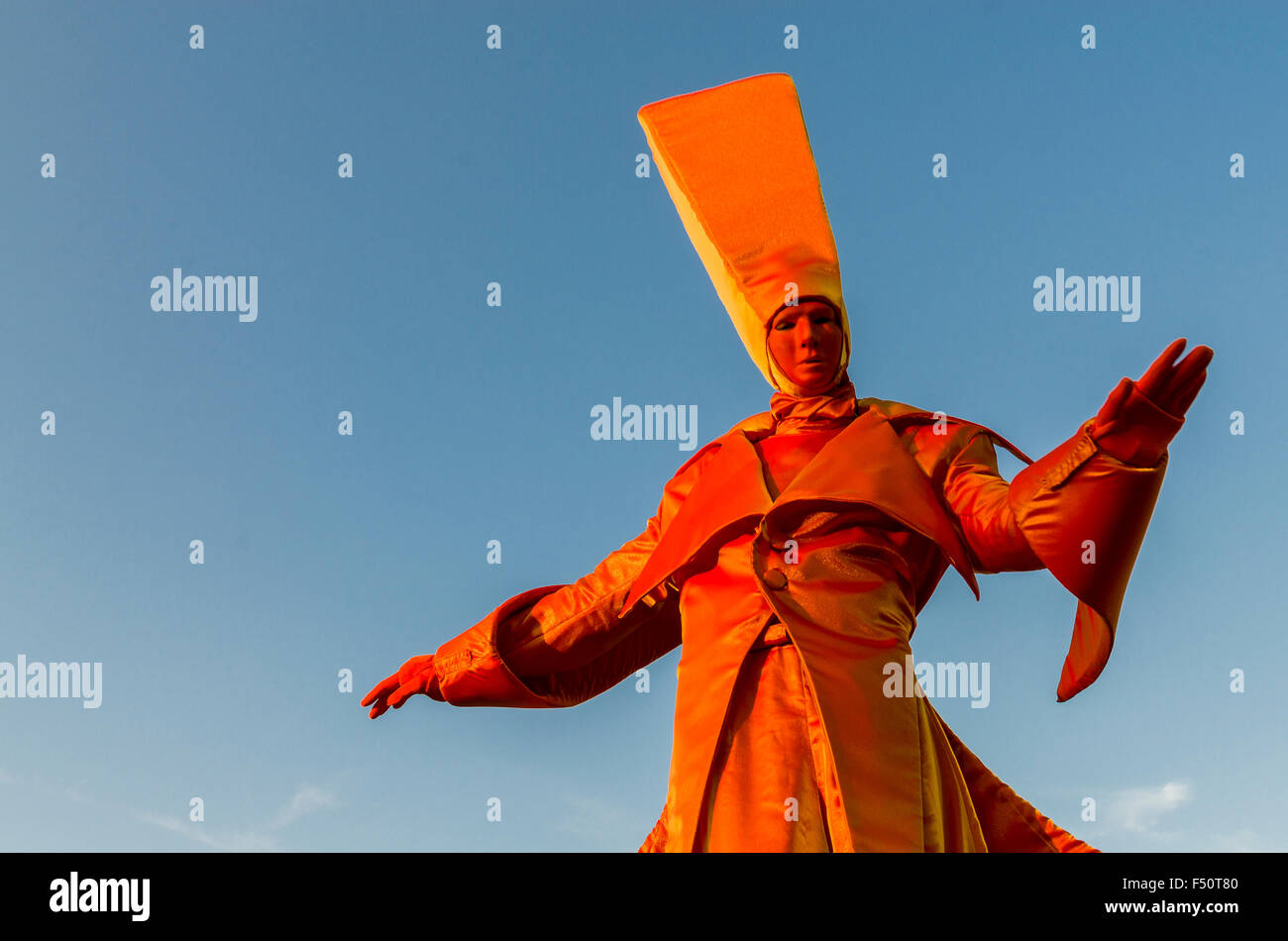 Phantasyful costumes worn by actors on stilts at Pillnitz Castle, situated 12 km out of the City at the river Elbe - Stock Image