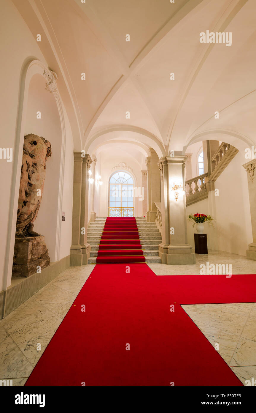 The newly renovated English Staircase, a stairway inside Dresden castle, the Residenzschloss - Stock Image