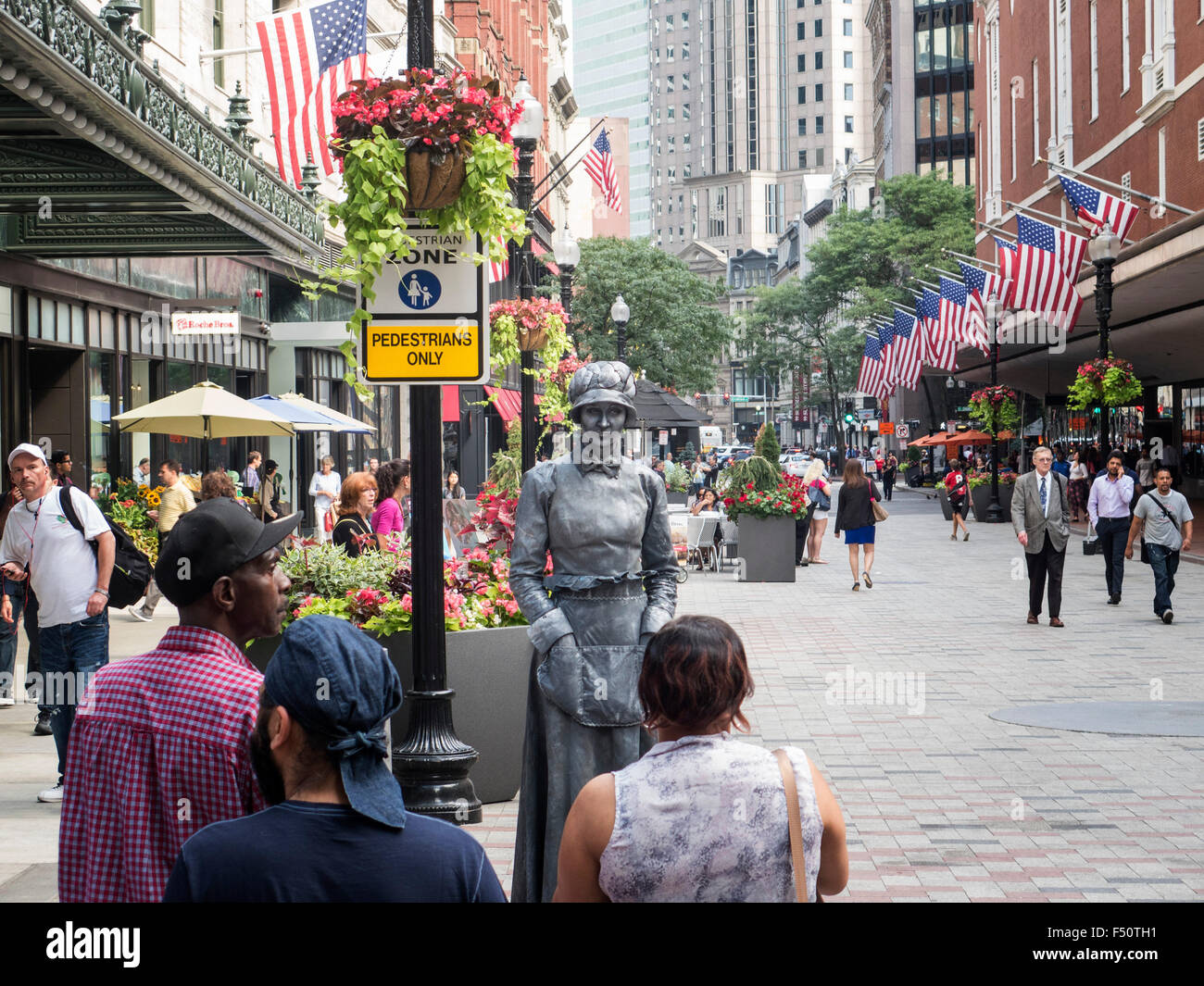 Mime performing at Downtown Crossing; Boston - Stock Image