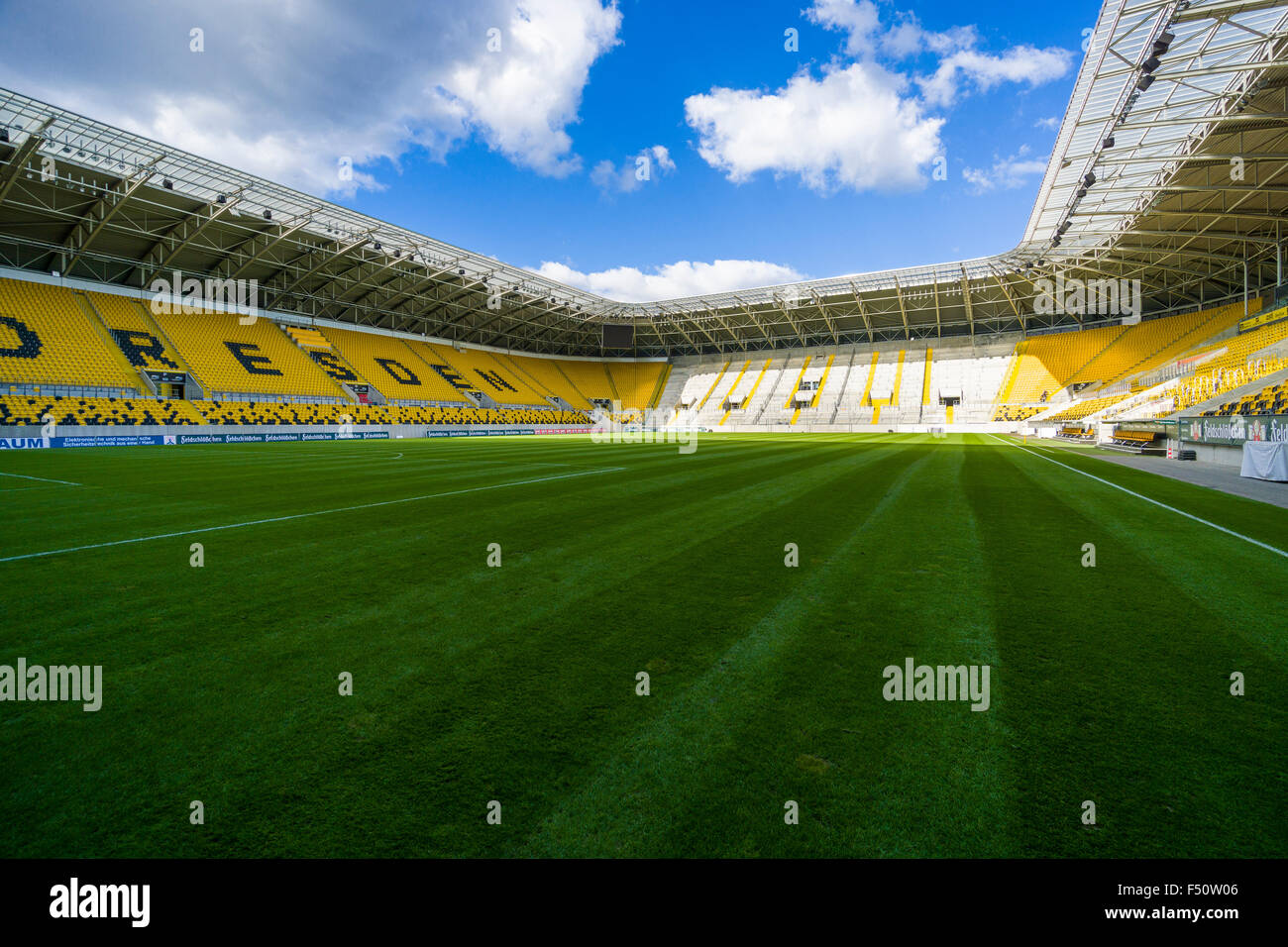 Inside view of the stadion of the football team Dynamo Dresden - Stock Image