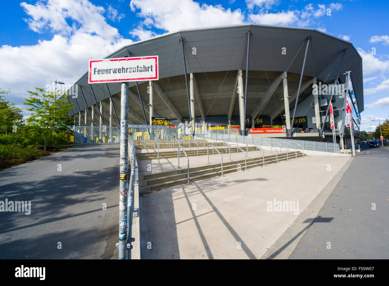 Outside view of the stadion of the football team Dynamo Dresden - Stock Image