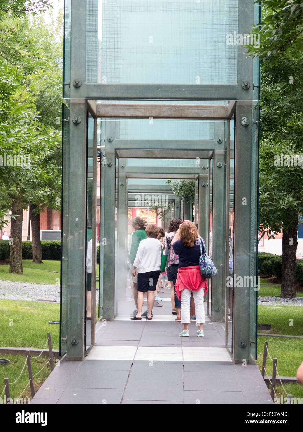 New England Holocaust Memorial; Etched on the glass towers are MILLIONS of numbers - Stock Image