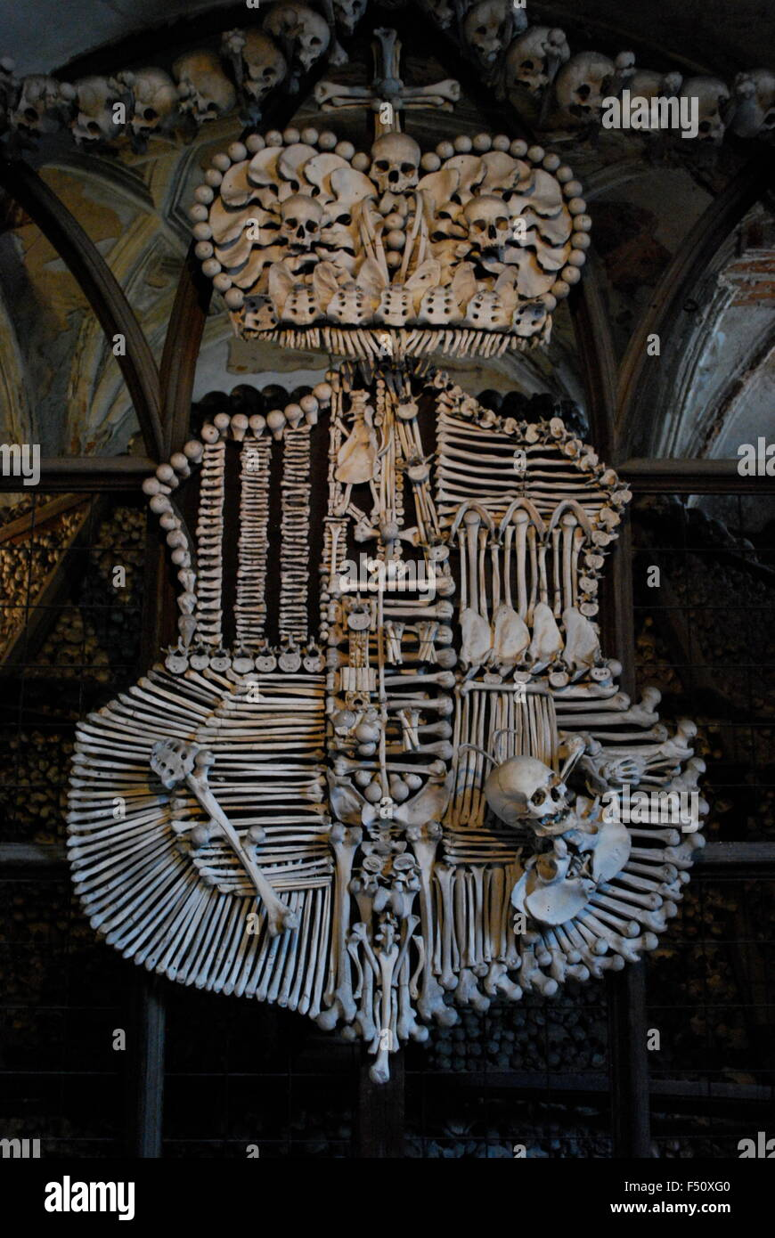 Schwarzenberg Coat Of Arms Made With Bones In Sedlec Ossuary Stock