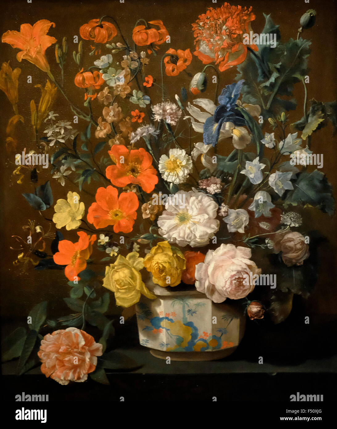 Flowers in a Chantilly Vase, about 1760, Louis Tessier - Stock Image