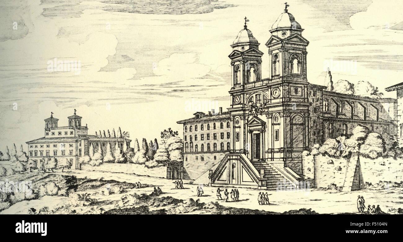 Illustration of Church of the Santissima Trinita dei Monti de 'Preti Least French on Monte Pincio, Rome, Italy Stock Photo