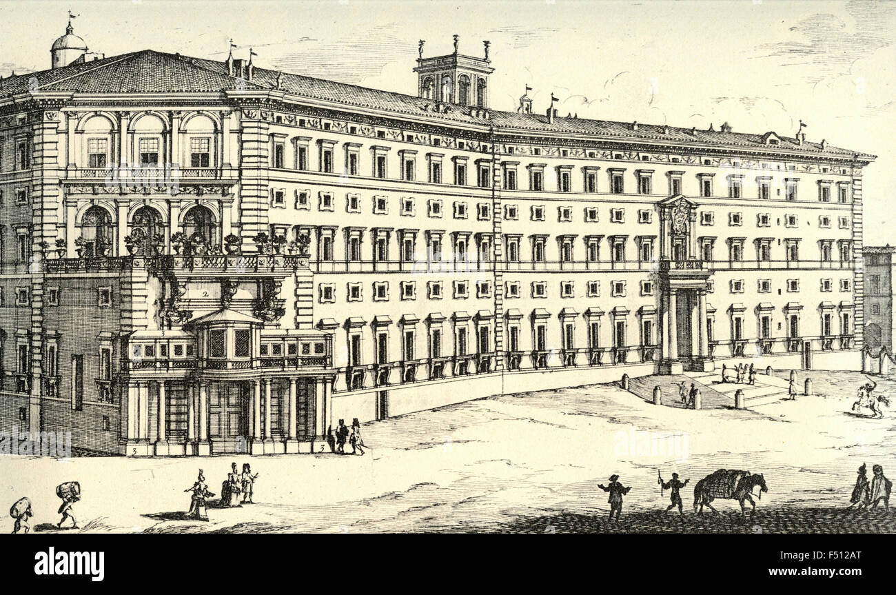 Illustration of Palace of the most excellent Prince Borghese, Rome, Italy - Stock Image