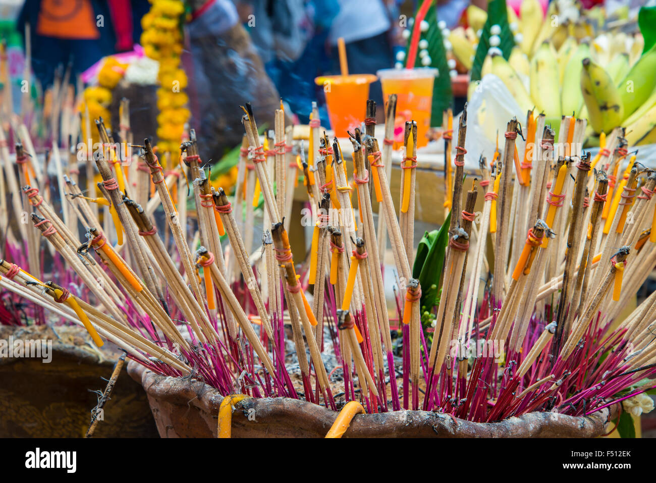 Incense to worship the sacred beliefs of Buddhists. - Stock Image